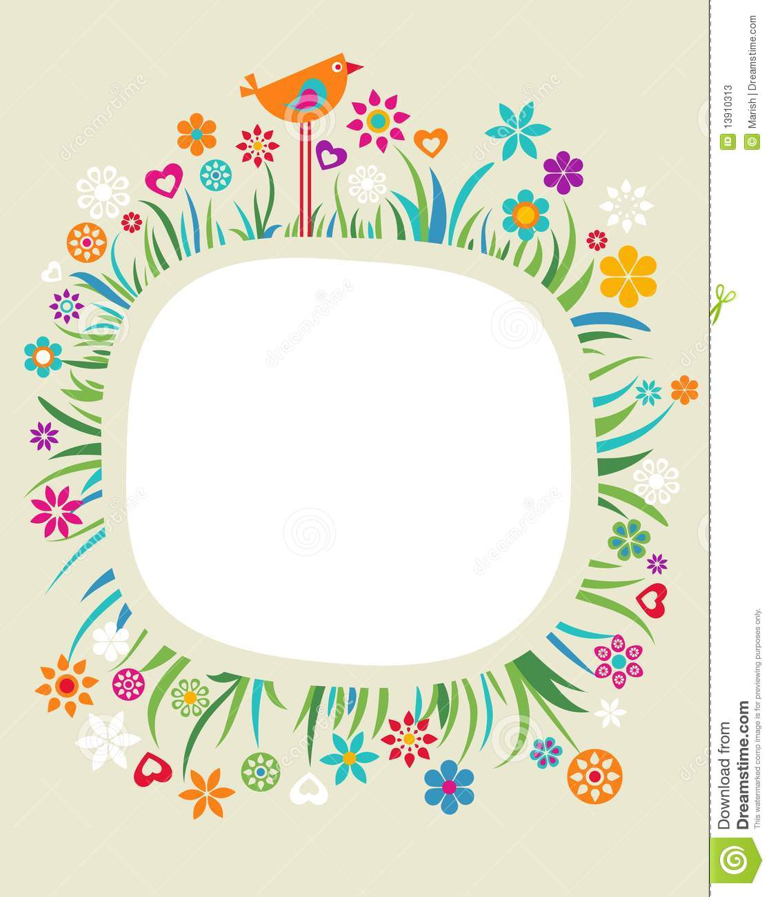 Template With Floral Border - 3 Stock Photos - Image: 13910313