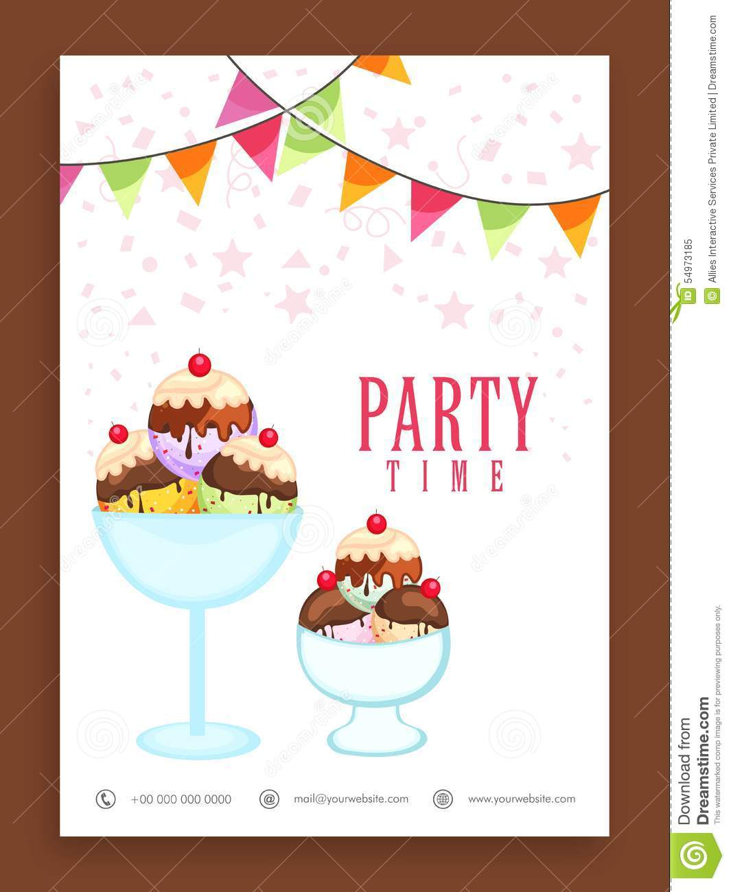 template flyer or banner design for ice cream stock illustration