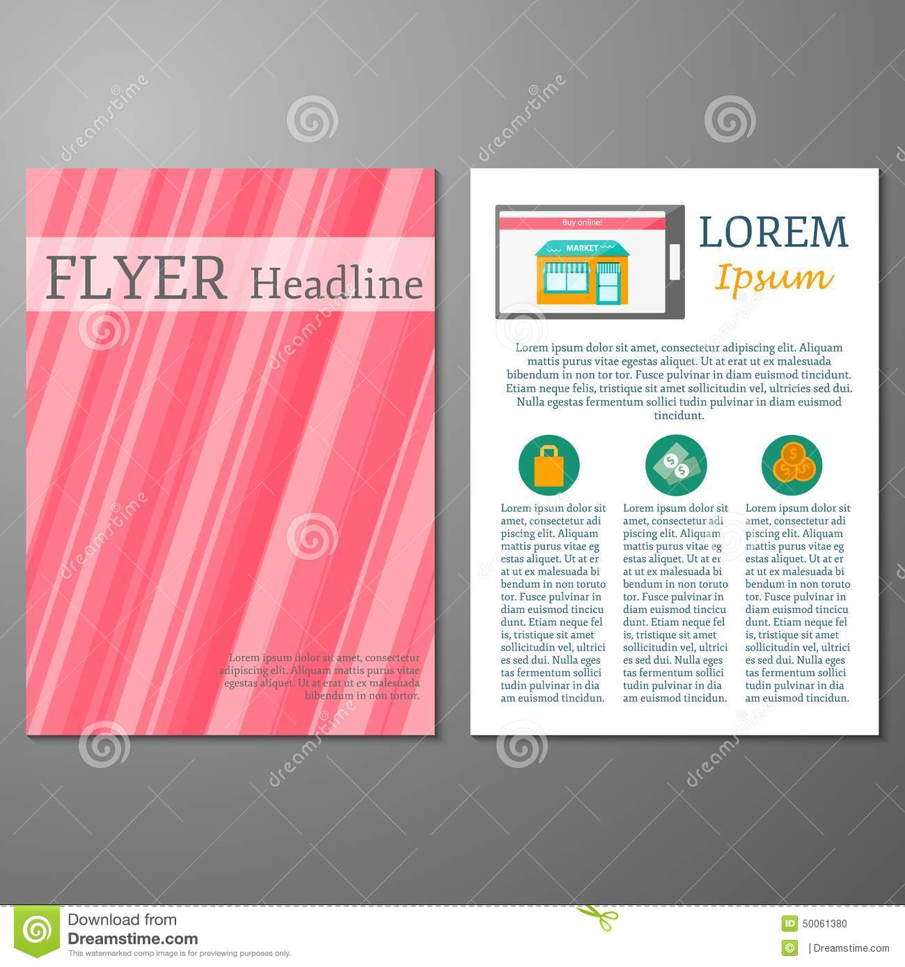 template for flyer or booklet on online shopping stock vector