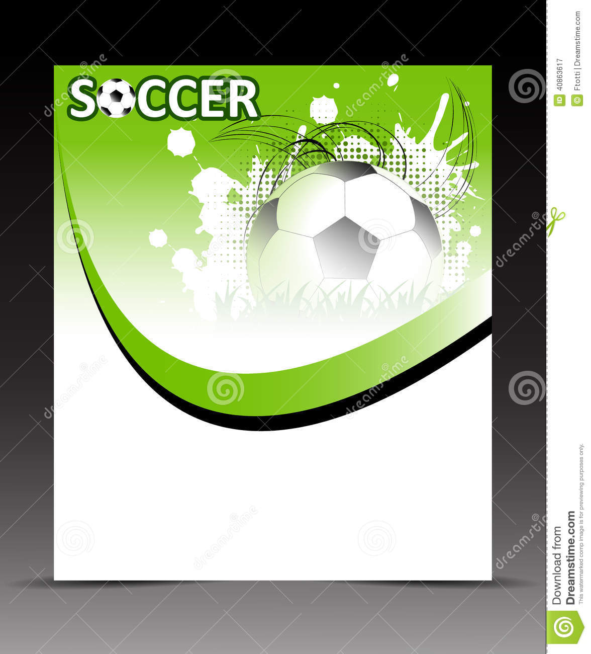 template flyer with soccer ball on abstract background stock vector