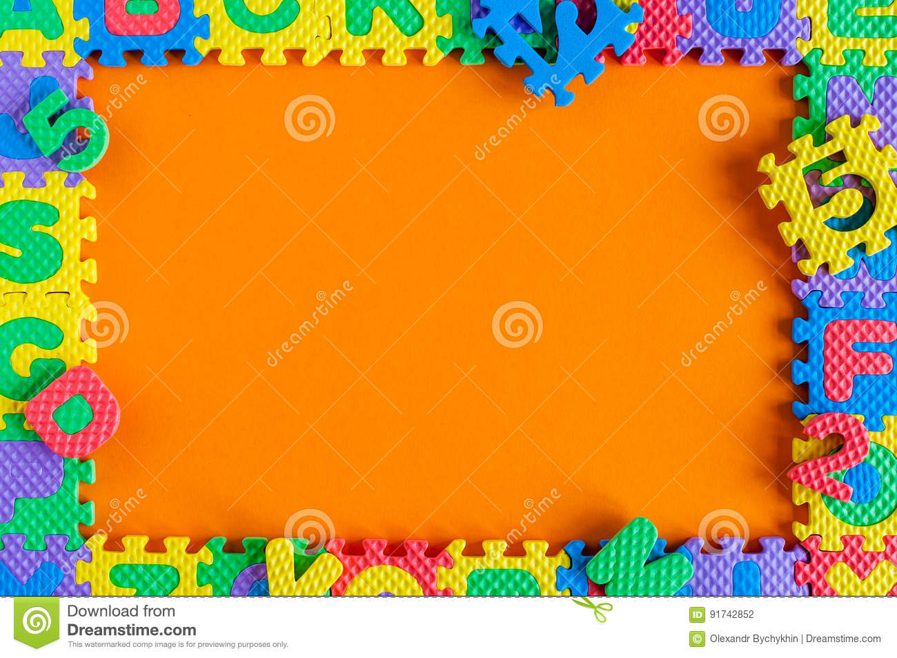 Template Frame Of Child Toy Puzzle With Empty Space For Text Or