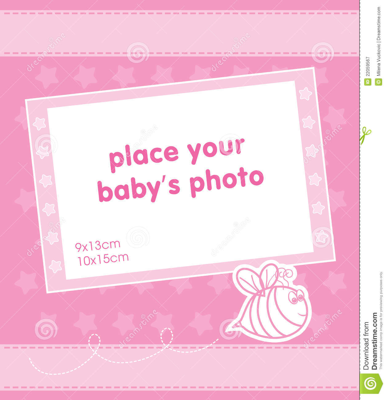 Template Frame Design For Baby Girl Photo Royalty Free