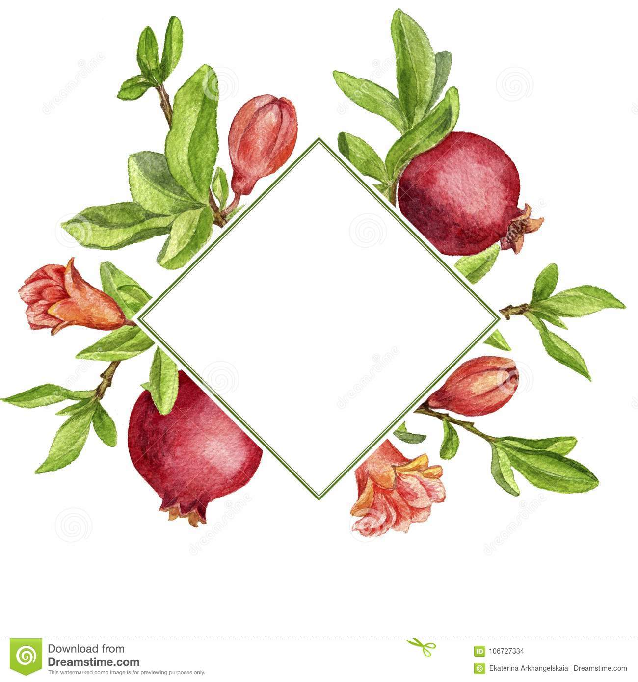 Template With Fruit Tree Branches Leaves Flower And Pomegranates Stock Illustration Illustration Of Drawing Card 106727334