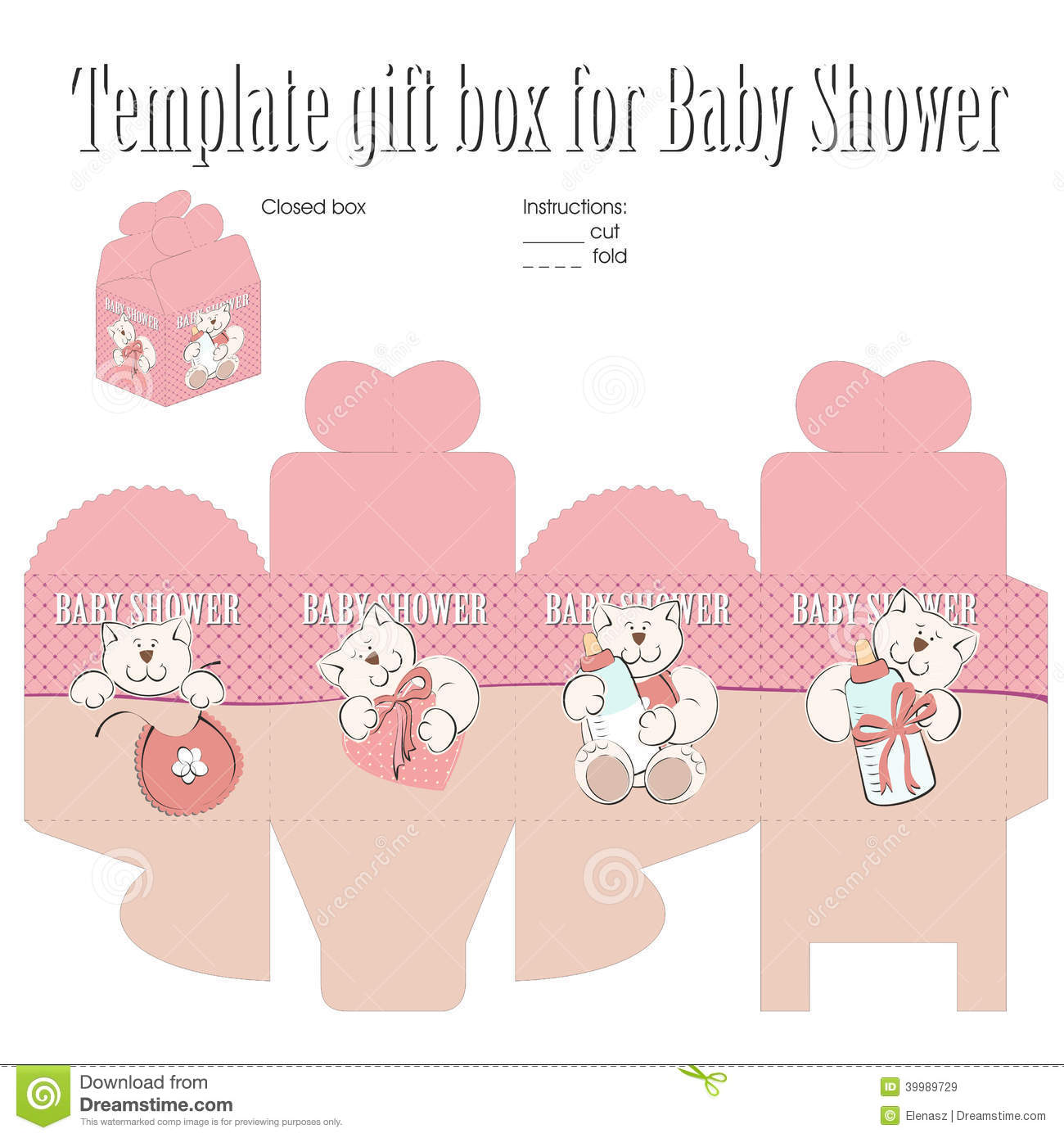 Template For Gift Box Stock Vector Image Of Birthday