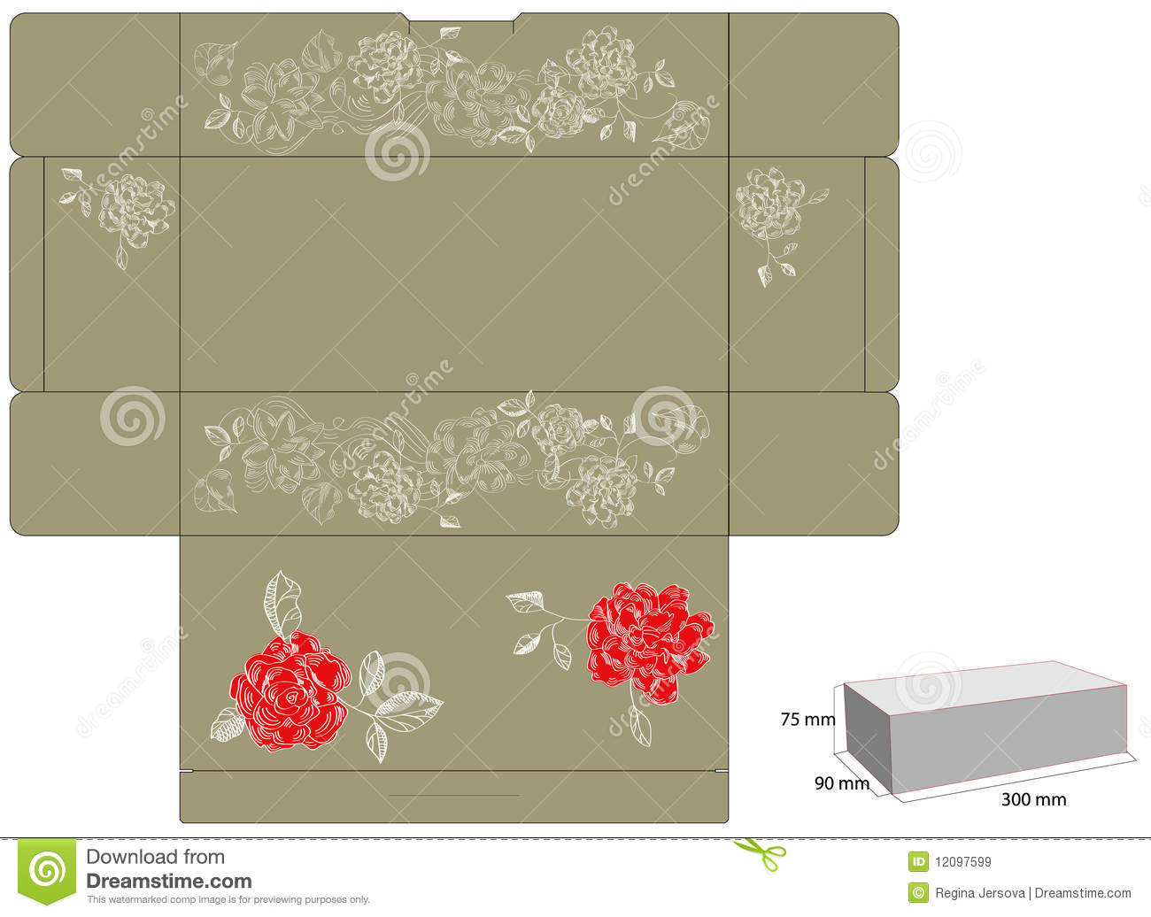 template for gift box with die cut  stock vector