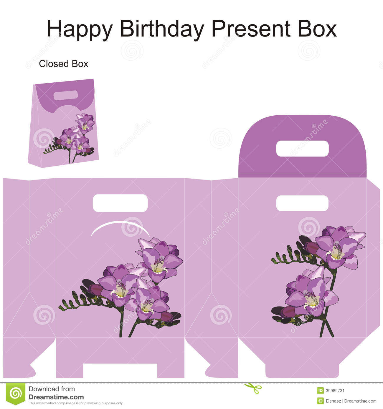 Template Gift Box For Wedding Favors Freesia Flowers Bouquet