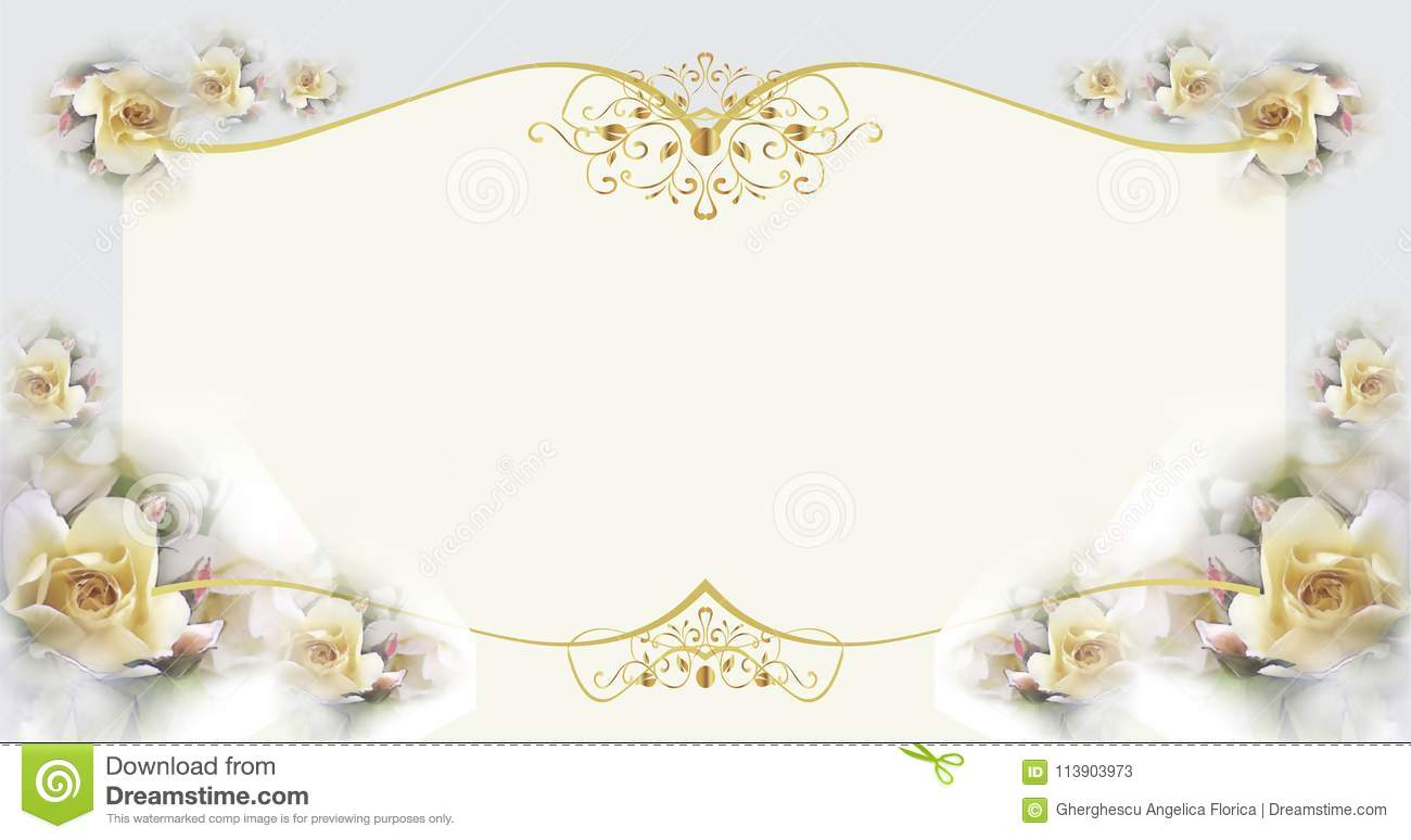 Template Of Gift Or Wedding Card With Flowers And Gold Decorations
