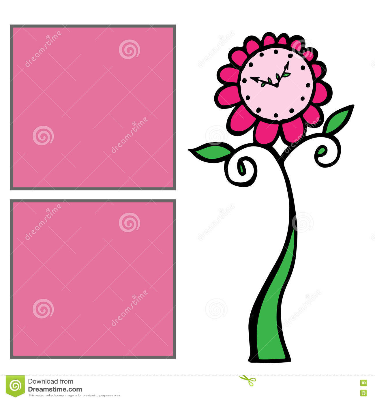 Template For Girls Album With Two Pink Frame For Text And Floral ...