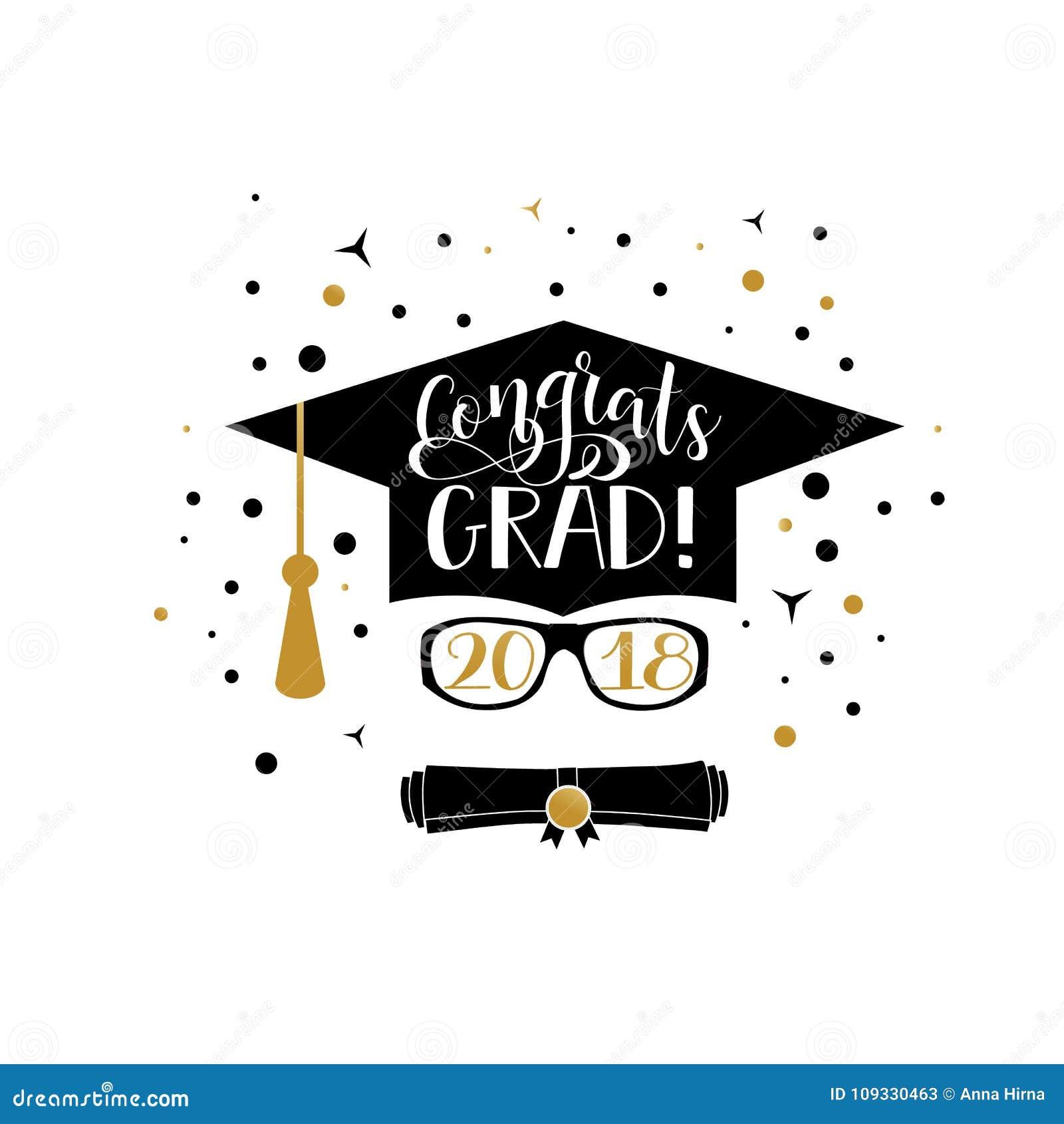 congrats grad 2018 lettering congratulations graduate banner