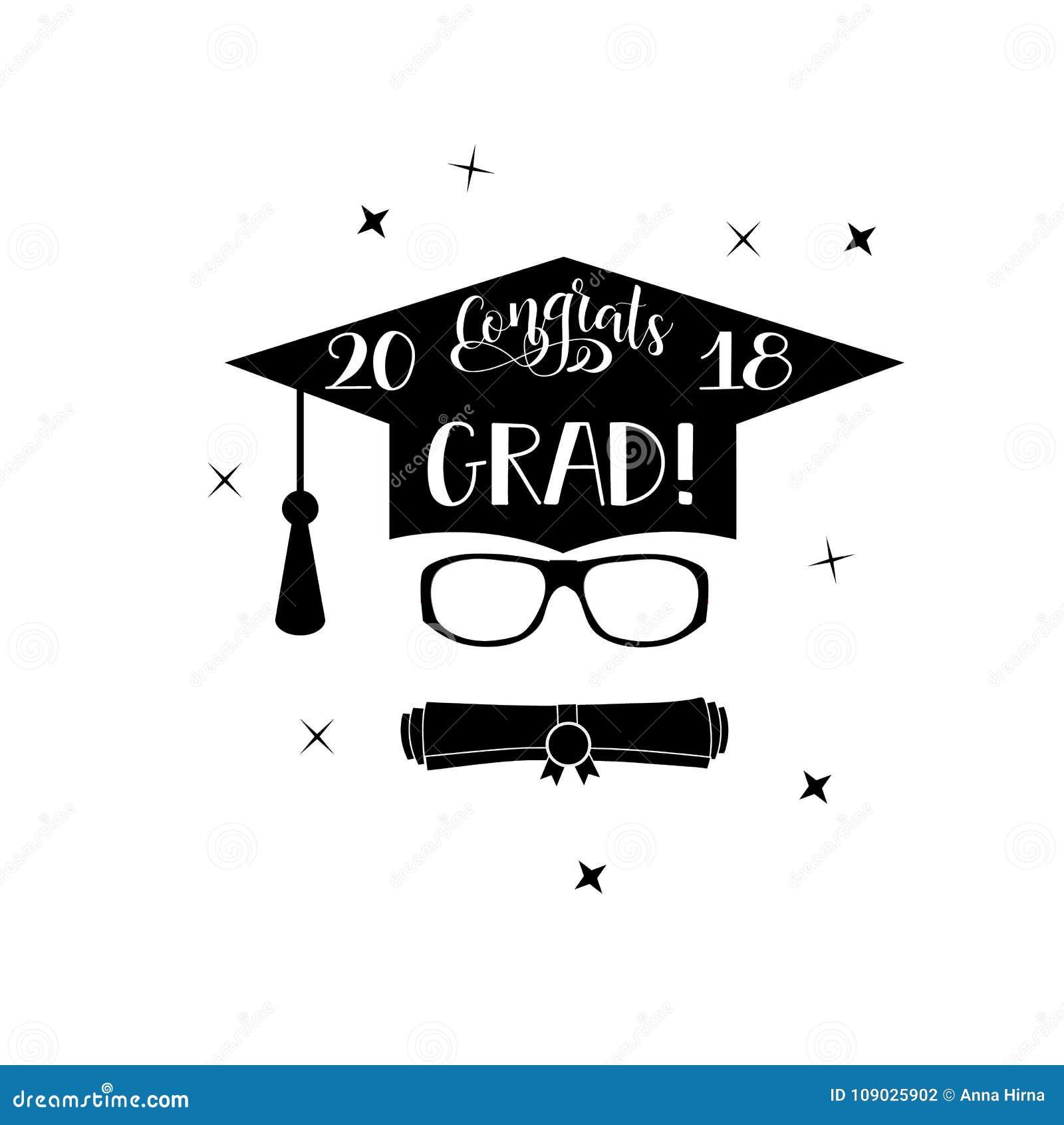 Congrats Grad 2018 Lettering Congratulations Graduate Banner Stock