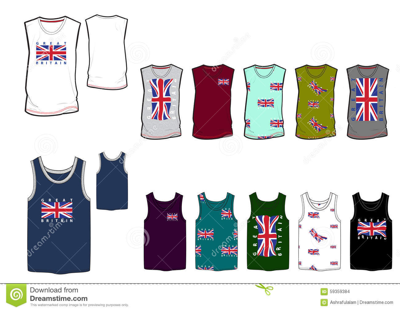 Template of great britten flag mans tank top and vest for Vest top template