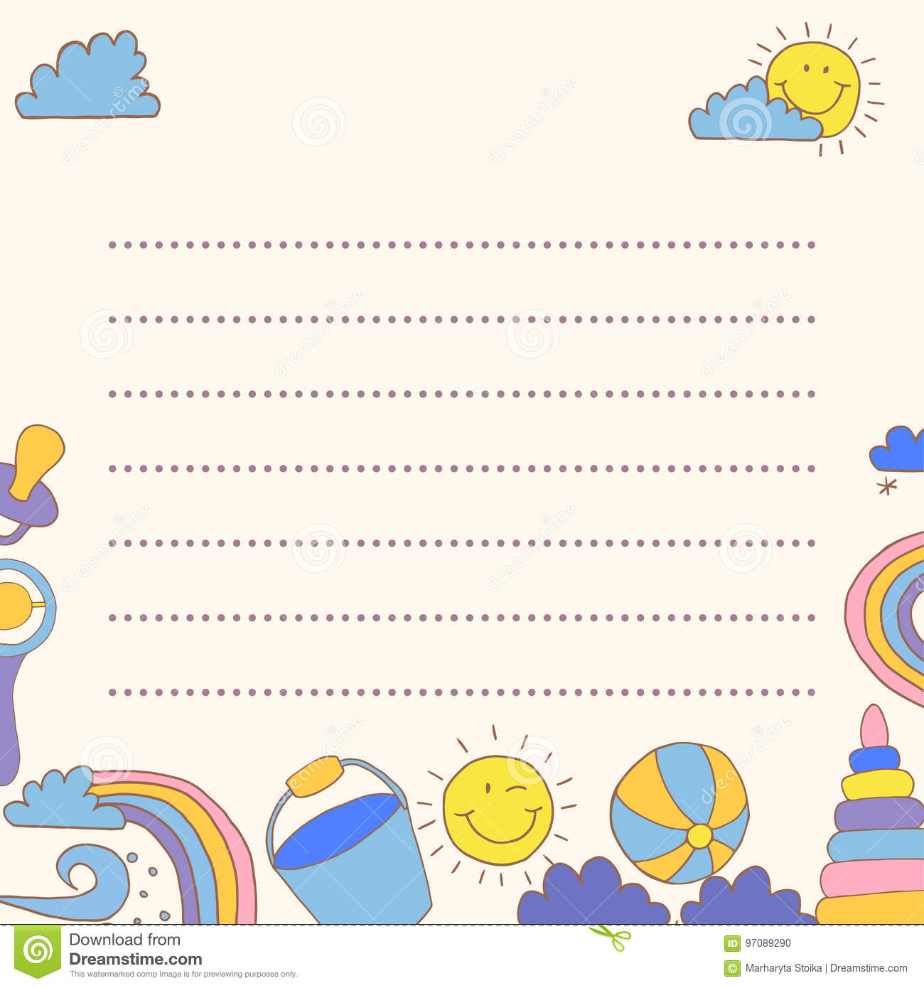 Template Greeting Card Baby Good Weather Place For Your Text