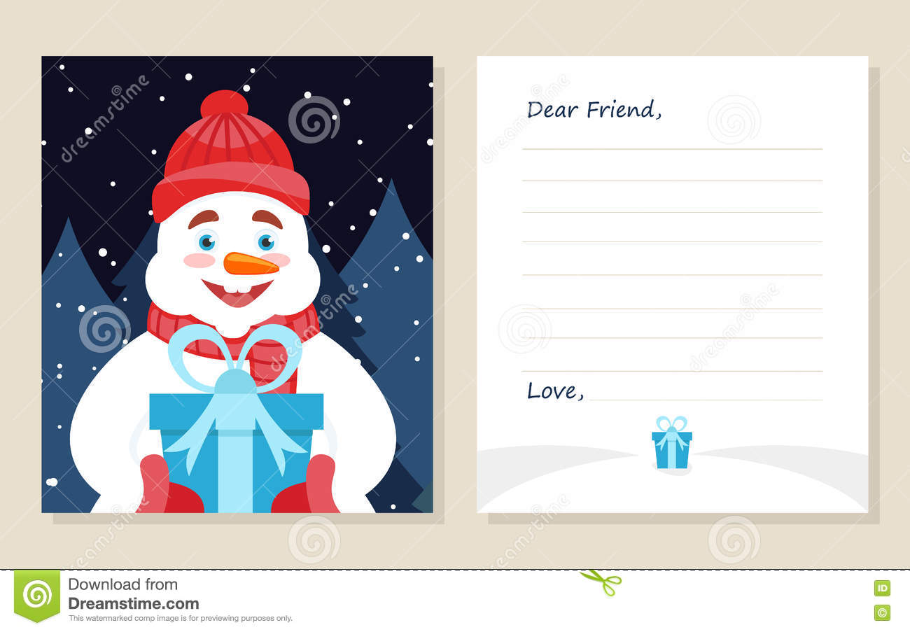 Template Greeting Card New Year S Or Merry Christmas Letter To Dear