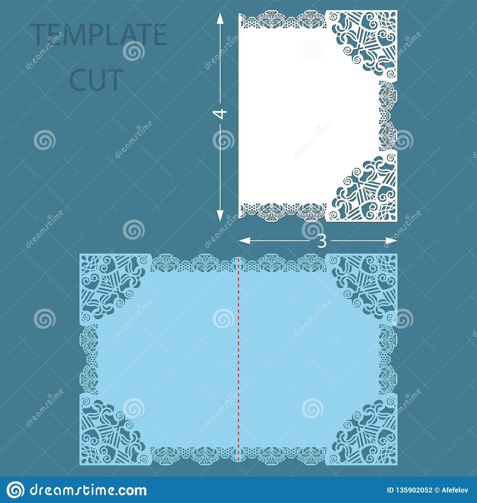 Template greeting congratulatory card with a decorative border on the edge. Wedding invitation laser cut. Cut out of paper card wi
