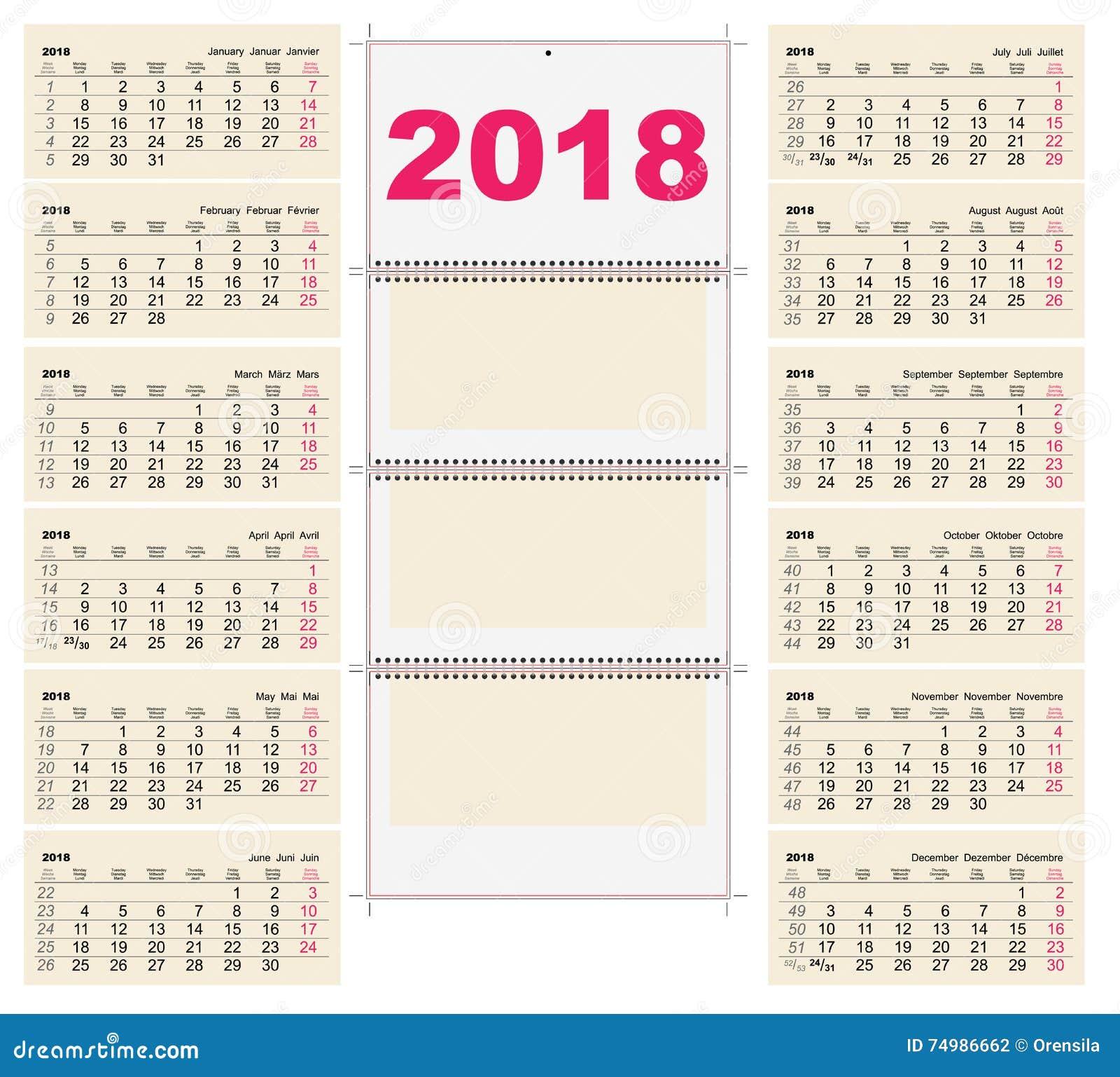 Template of calendar for april 2018 cartoon vector for Calendario de pared 2018
