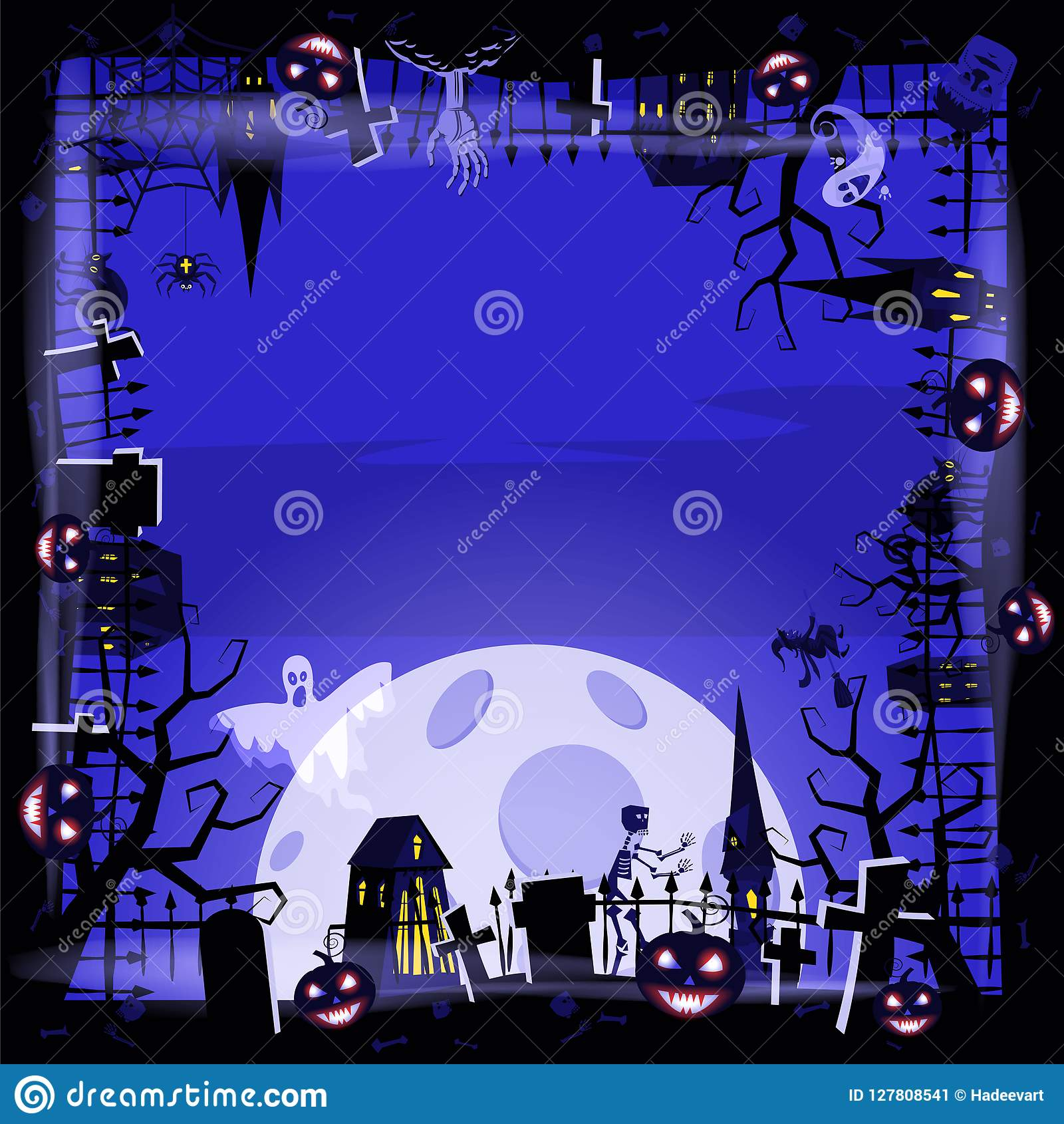 Template Halloween holiday pumpkin, cemetery, black abandoned castle, attributes of the holiday of All Saints, ghost
