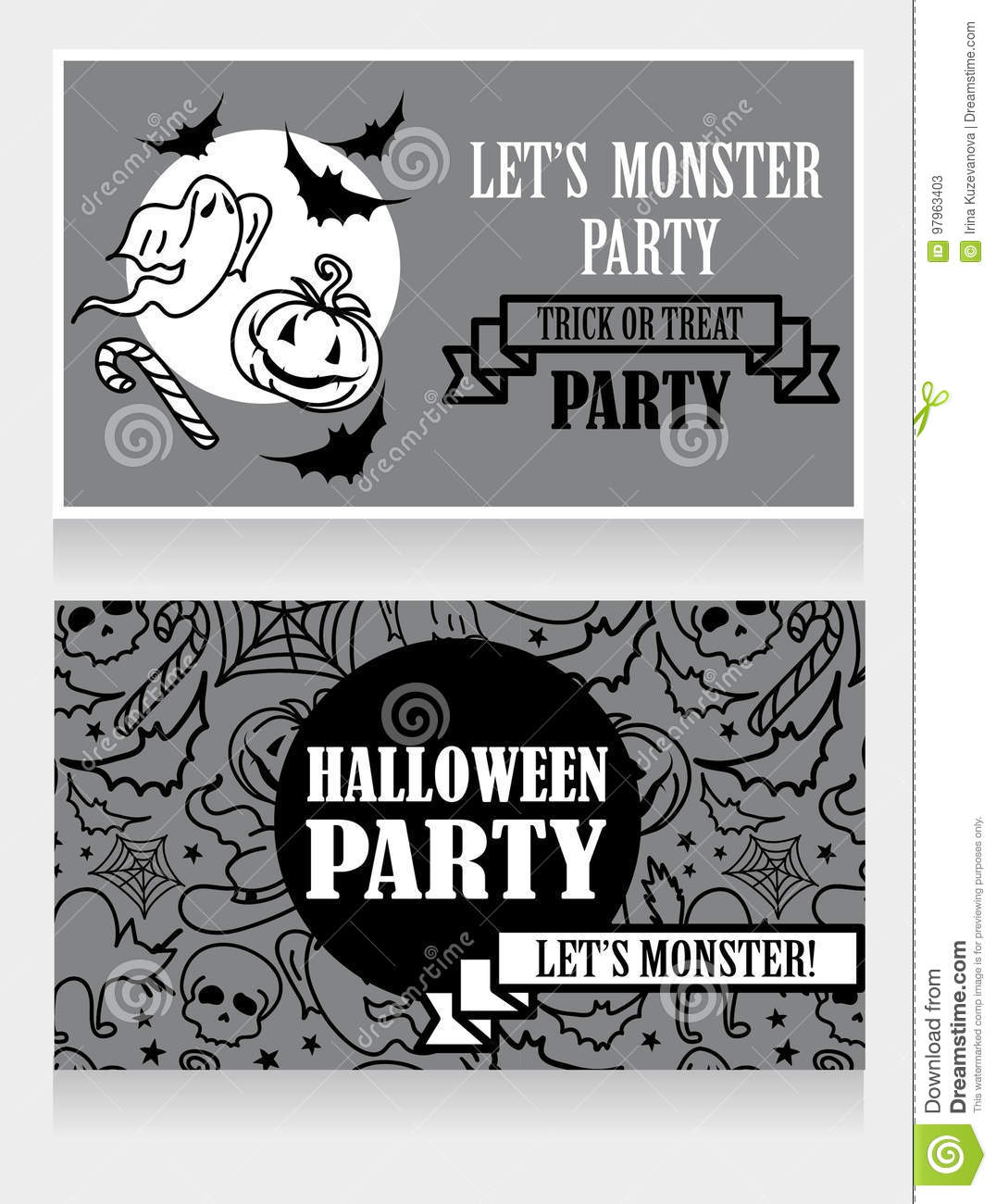 Template For Halloween Party Invitations With Cartton Traditional ...