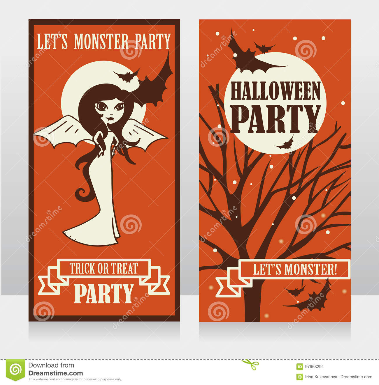 Template For Halloween Party Invitations With Doodle Lady Vimpire