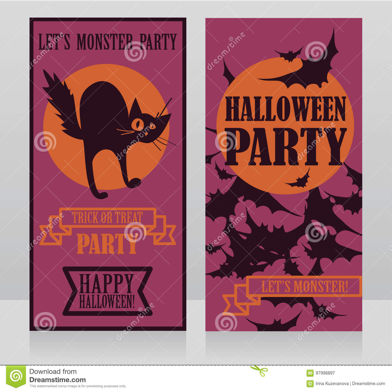 Template For Halloween Party Invitations With Traditional Cartoon