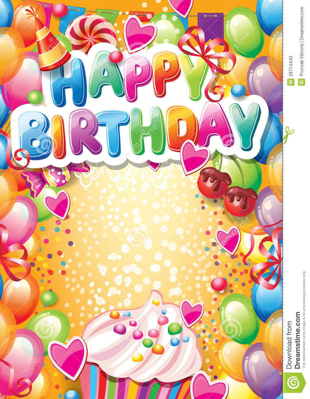 template for happy birthday card stock vector illustration of