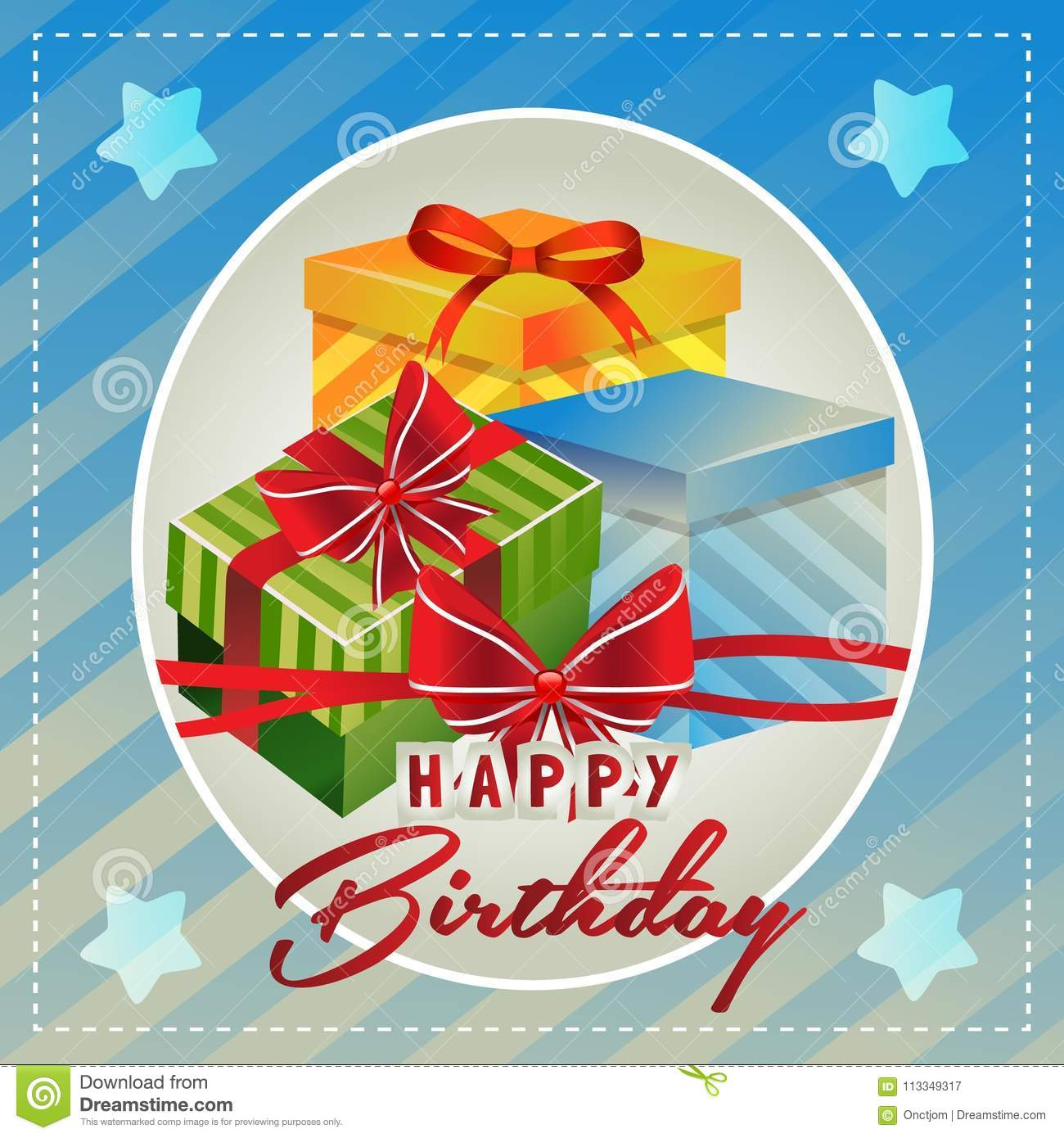 Template Happy Birthday Card With Cute Gift Box