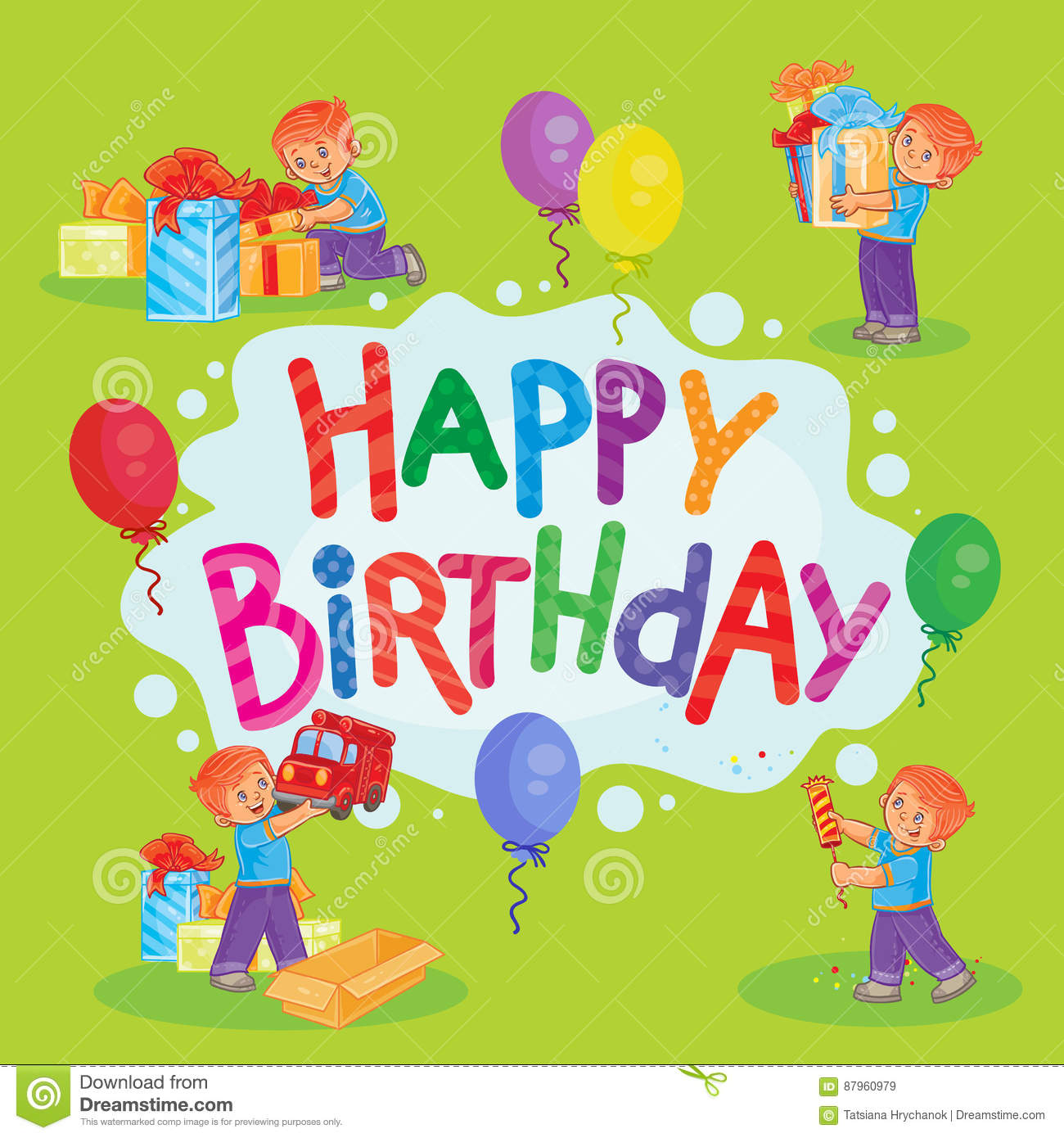 Template For Happy Birthday Greeting Card Stock Illustration Illustration Of Home Card 87960979