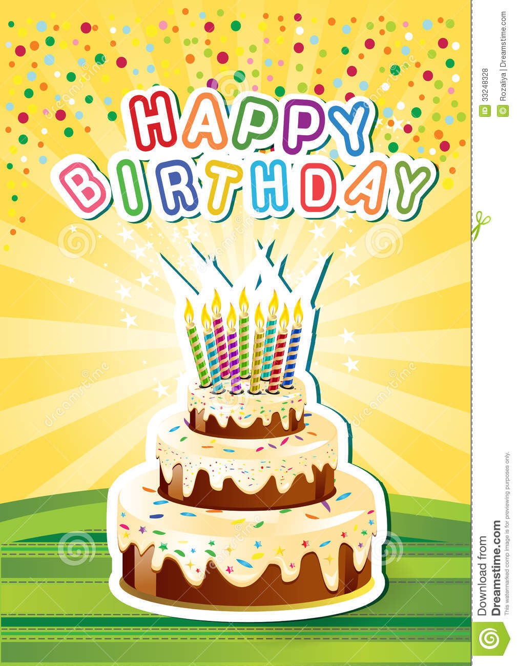 template happy birthsday card with cake and candl stock vector