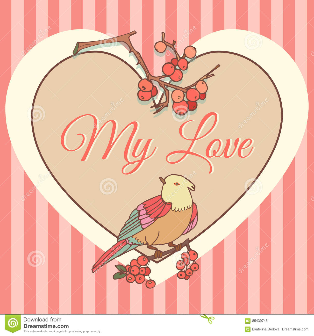 Template With Heart Bird And Red BerriesValentine Card Vector – Bird Valentine Card