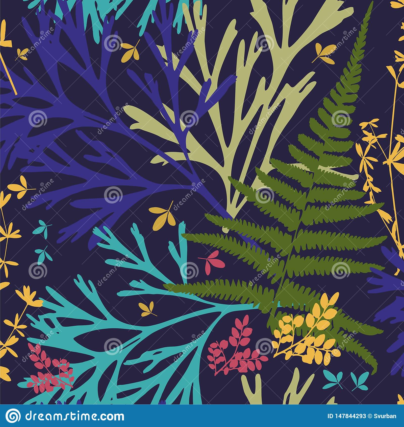 Template. Herbarium with wild flowers, branches, leaves. Botanical background on blue