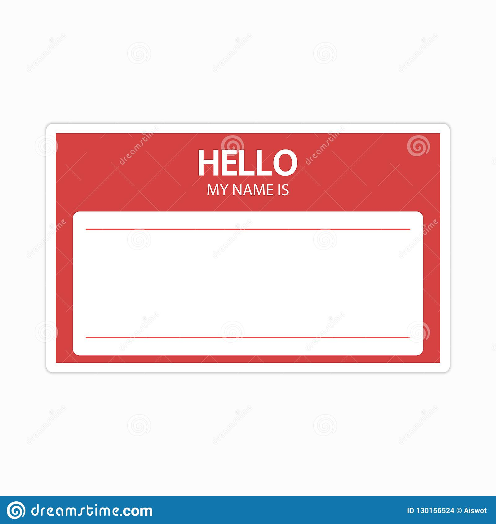 Template Of Identification Card Name Tag Blank Sticker Flat Label Hello My