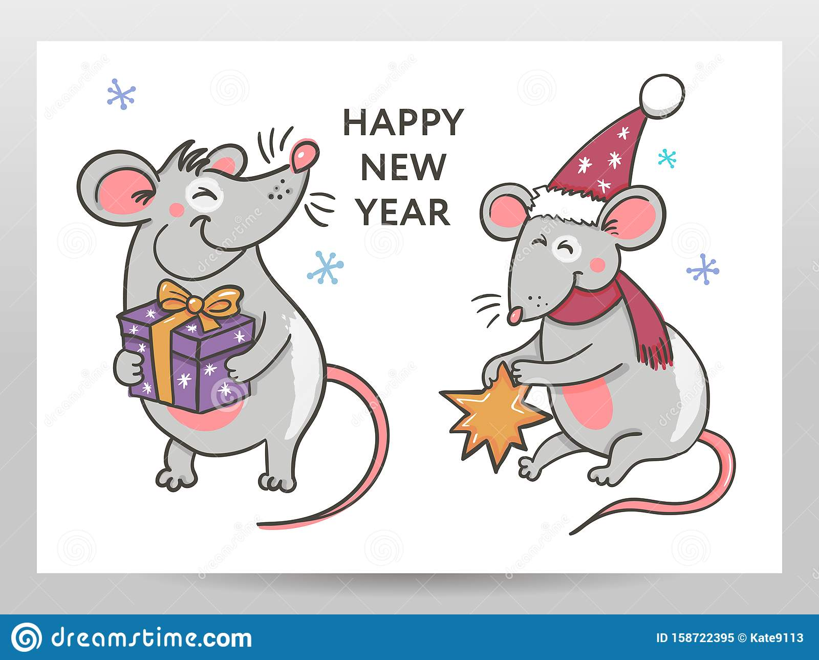 Template Image Happy New Year Party With Rat, White ...