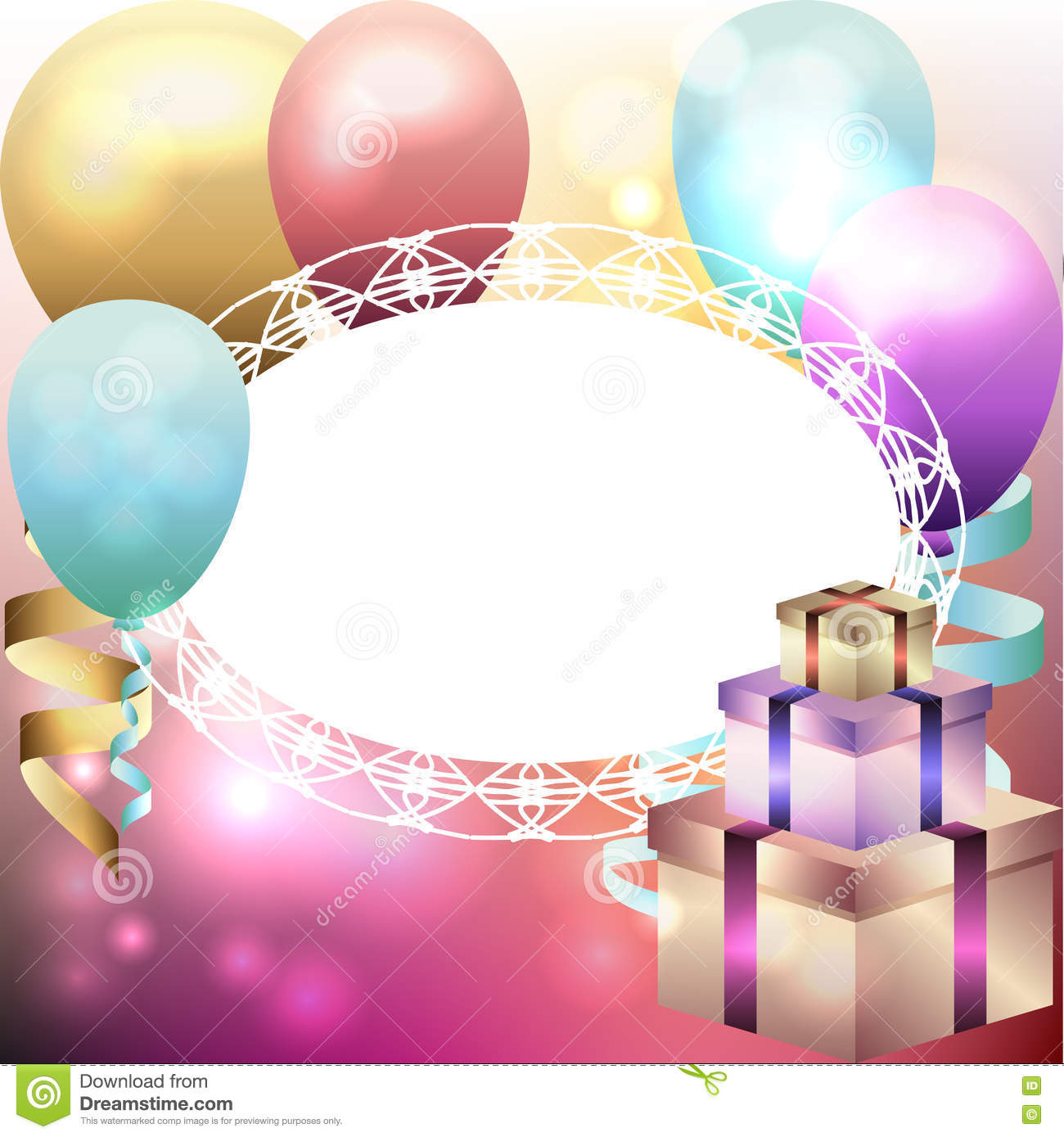 balloons frame template stock vector image 65221591