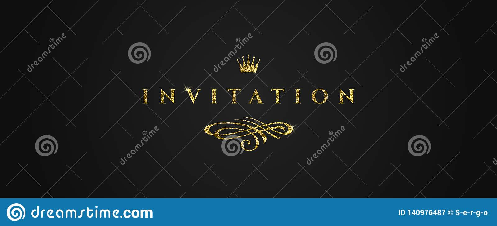Template invitation with glitter gold flourishes elements and crown