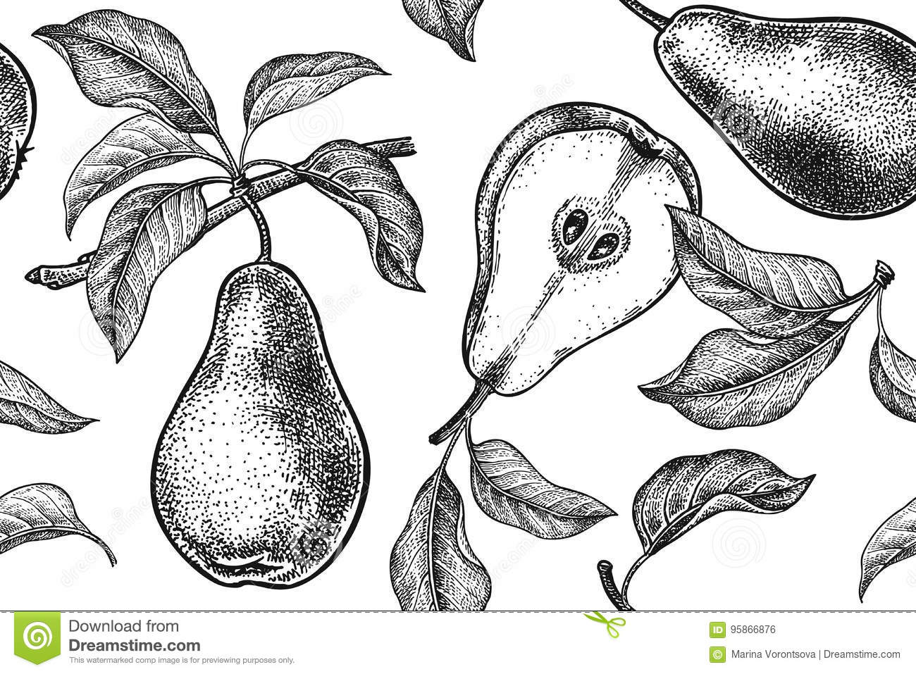Template For Kitchen Design. Pattern With Pears. Stock Vector ...