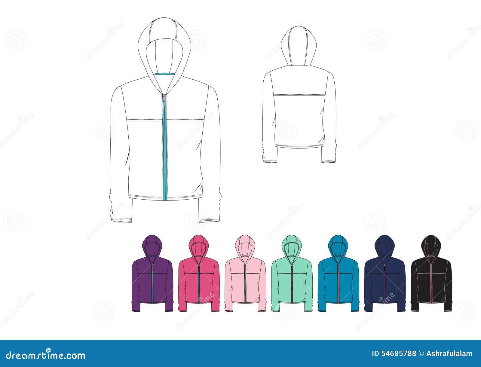 Template Of Ladies Light Weight Front Zip Hood Jacket Design