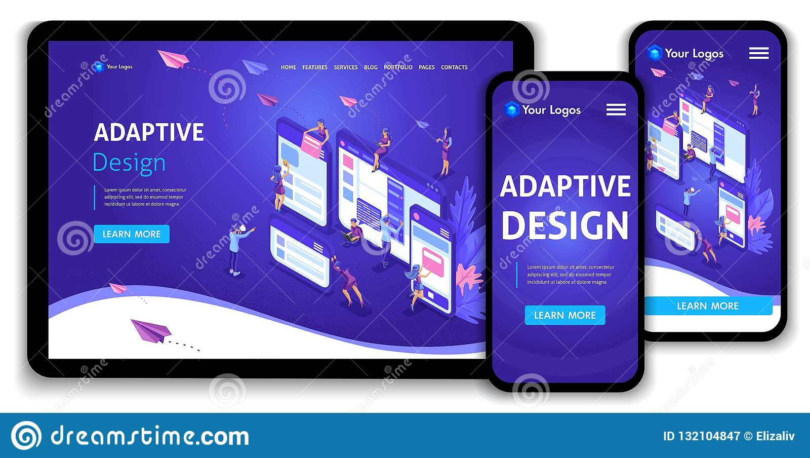 Template Landing page Isometric concept of web page design and development of mobile websites, adaptive design, applications