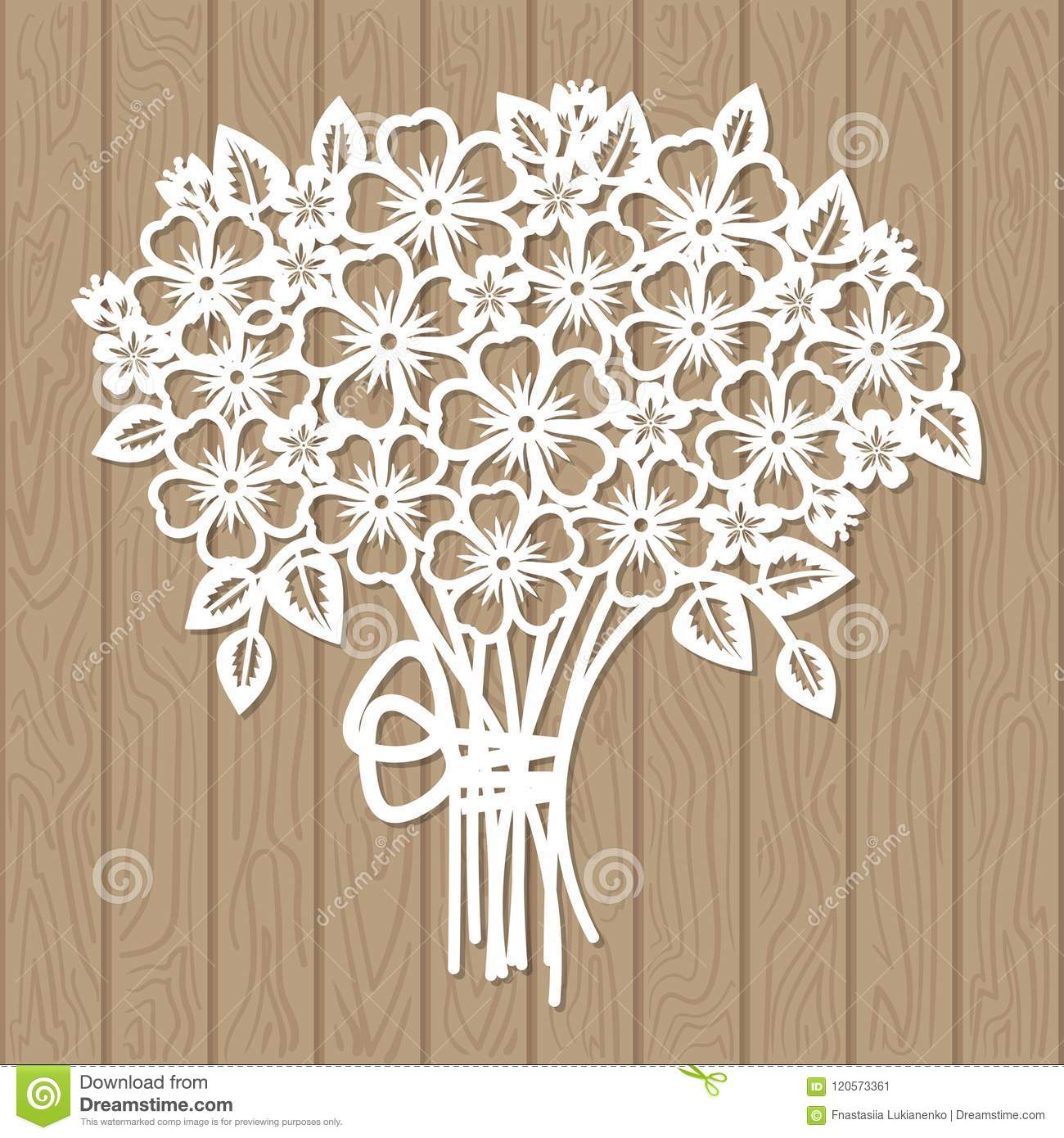 A Template For Laser Cutting Bouquet Of Flowers Stock Illustration
