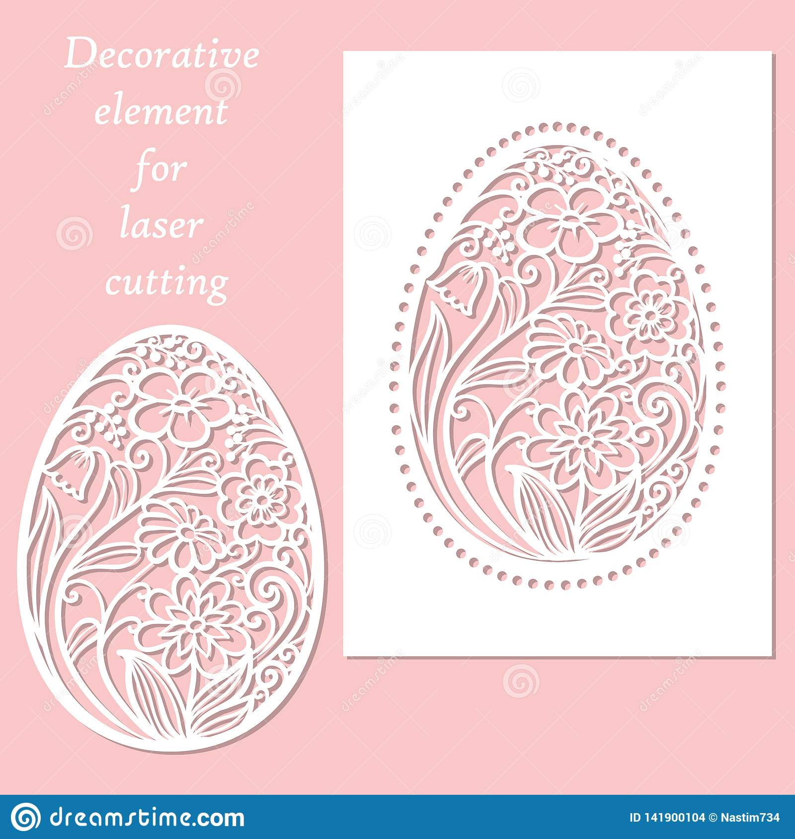 Template For Laser Cutting Easter Egg Vector Stock Vector
