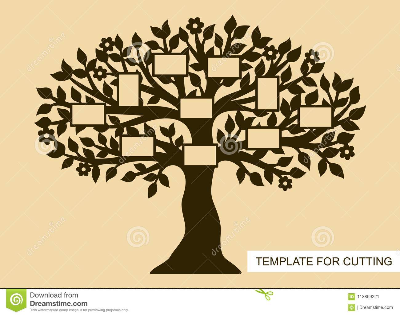 Silhouette Of Family Tree With Photo Frames Stock Illustration