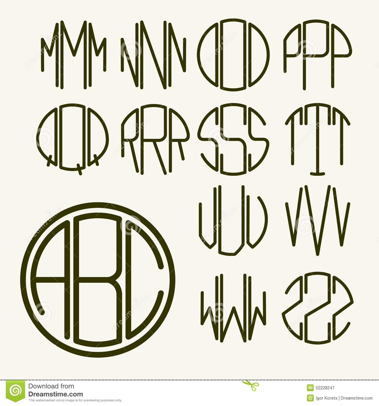 template letters to create monogram stock vector