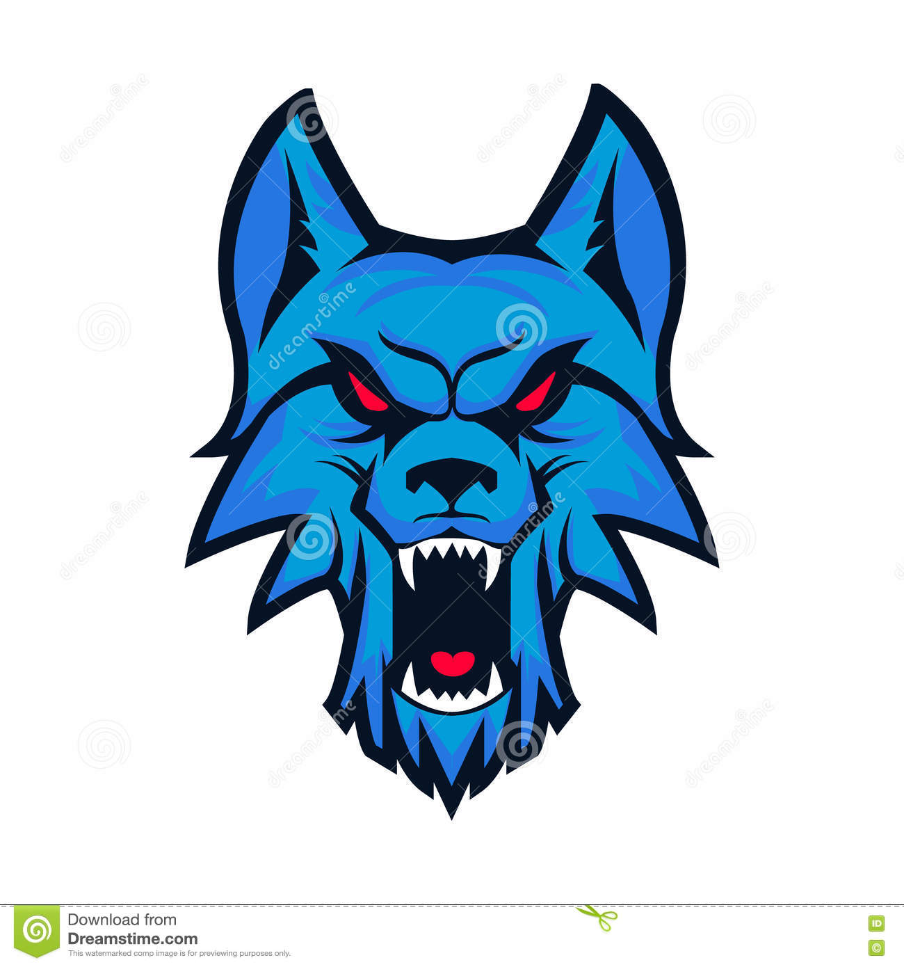 Template Of Logo With Angry Wolf Head Emblem For Sport Team Ma