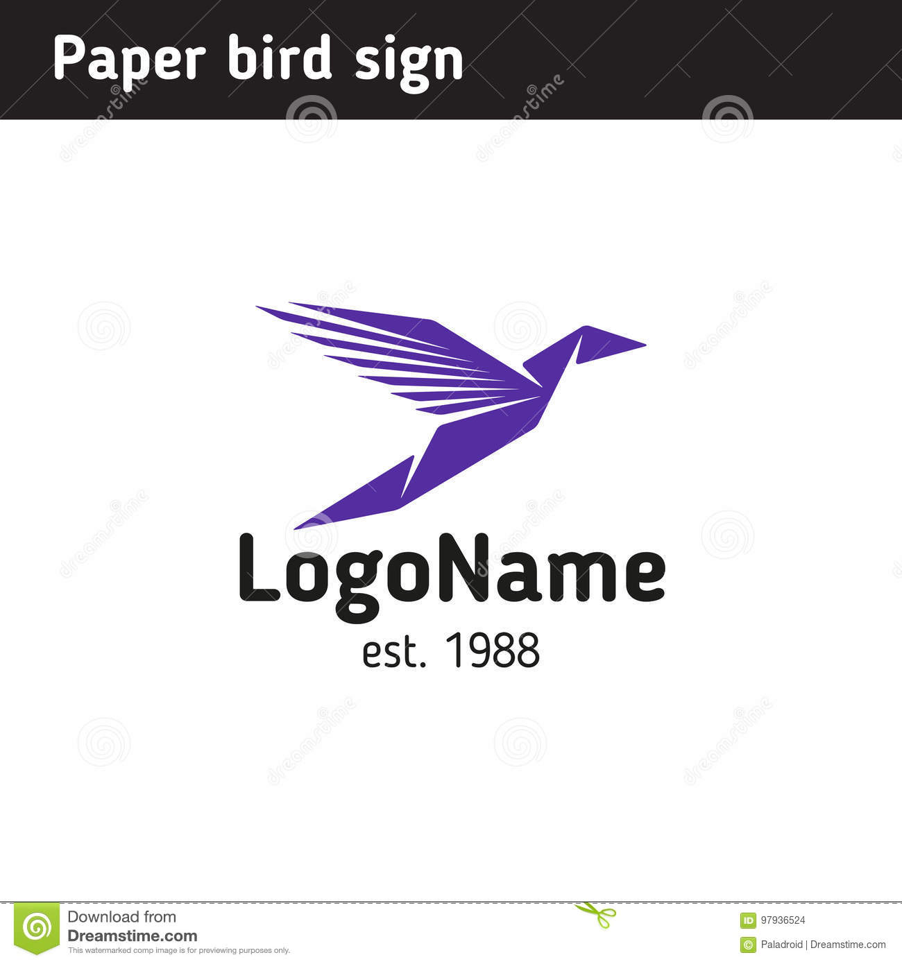 Template Logo In The Form Of Paper Birds Is Universal For Any Sphere