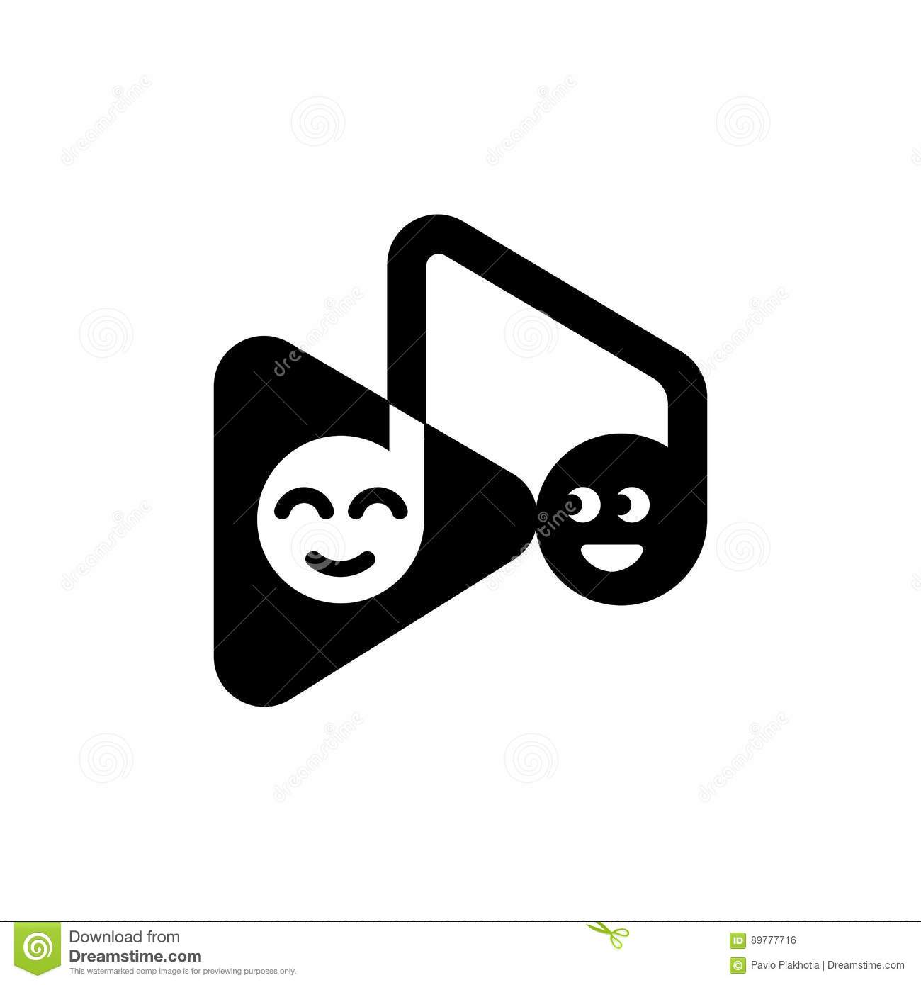 Template Logo Musical Note And Play Button With Funny Emoticons