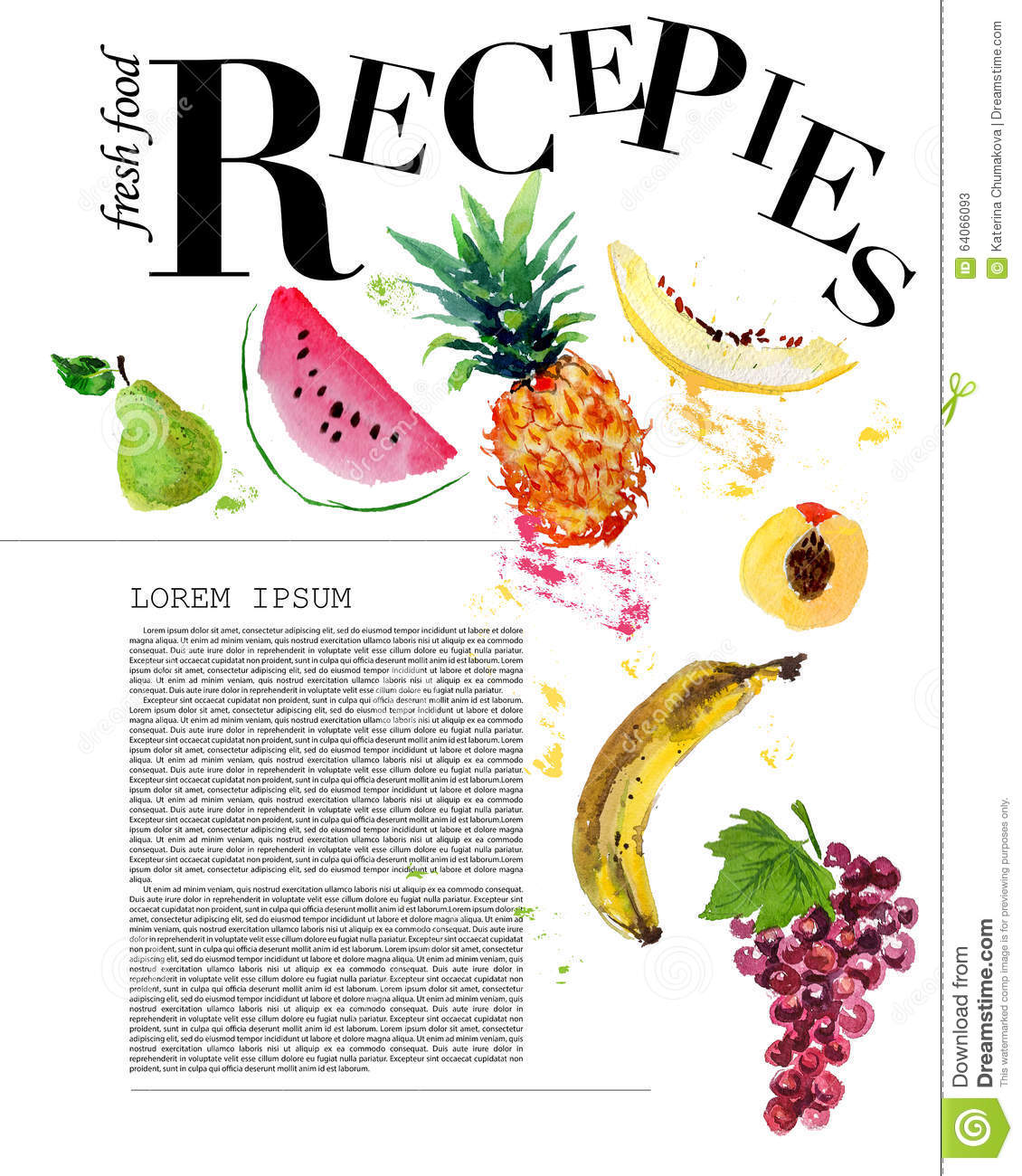 Template Of Magazine Article Recipe Design Stock Illustration ...