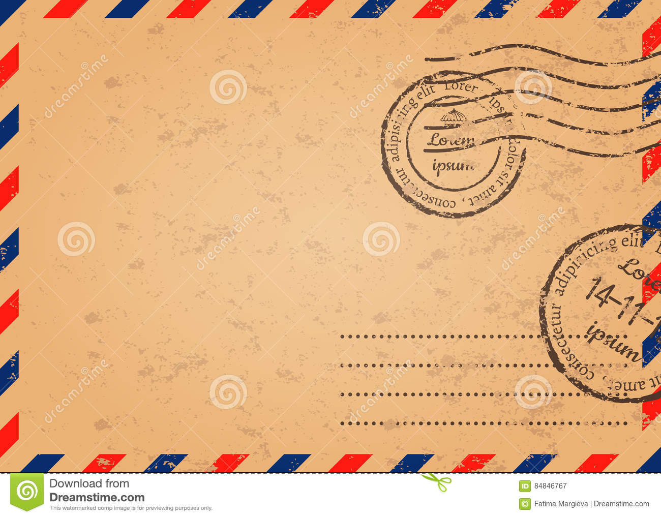Template Of Mail Envelope Stock Vector Illustration Of Document - Mail envelope template