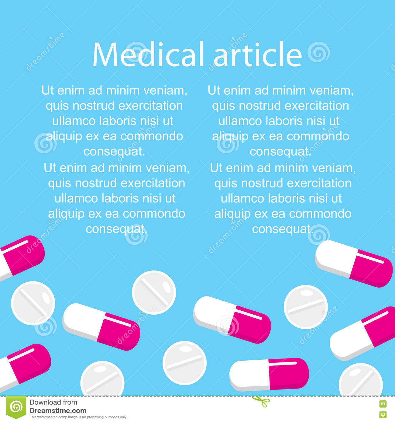 pick up cozy fresh casual shoes Template Medical Article On A Blue Background With Pills And ...