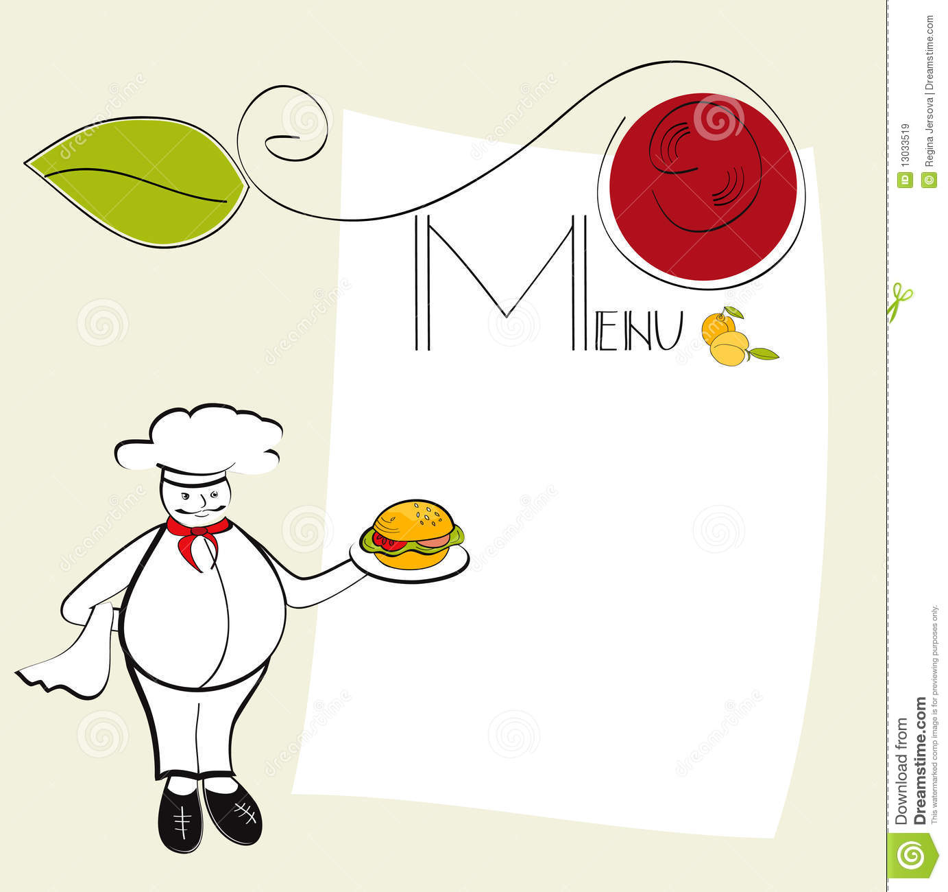 chef template resource - template for menu royalty free stock images image 13033519