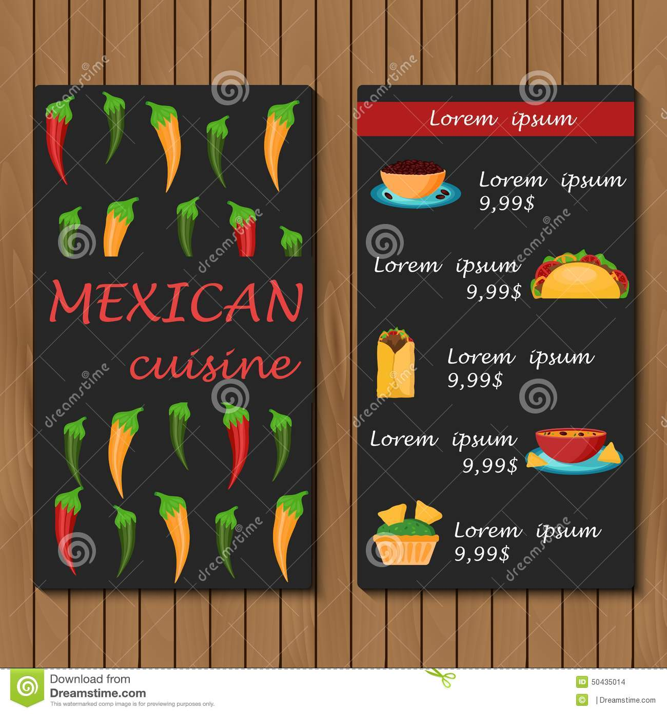 template for menu or booklet with cartoon mexican stock vector
