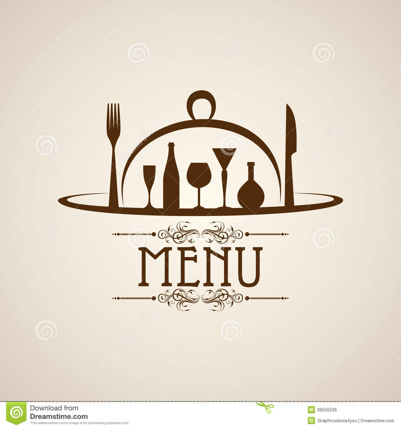 Template For Menu Card With Cutlery Stock Vector Image