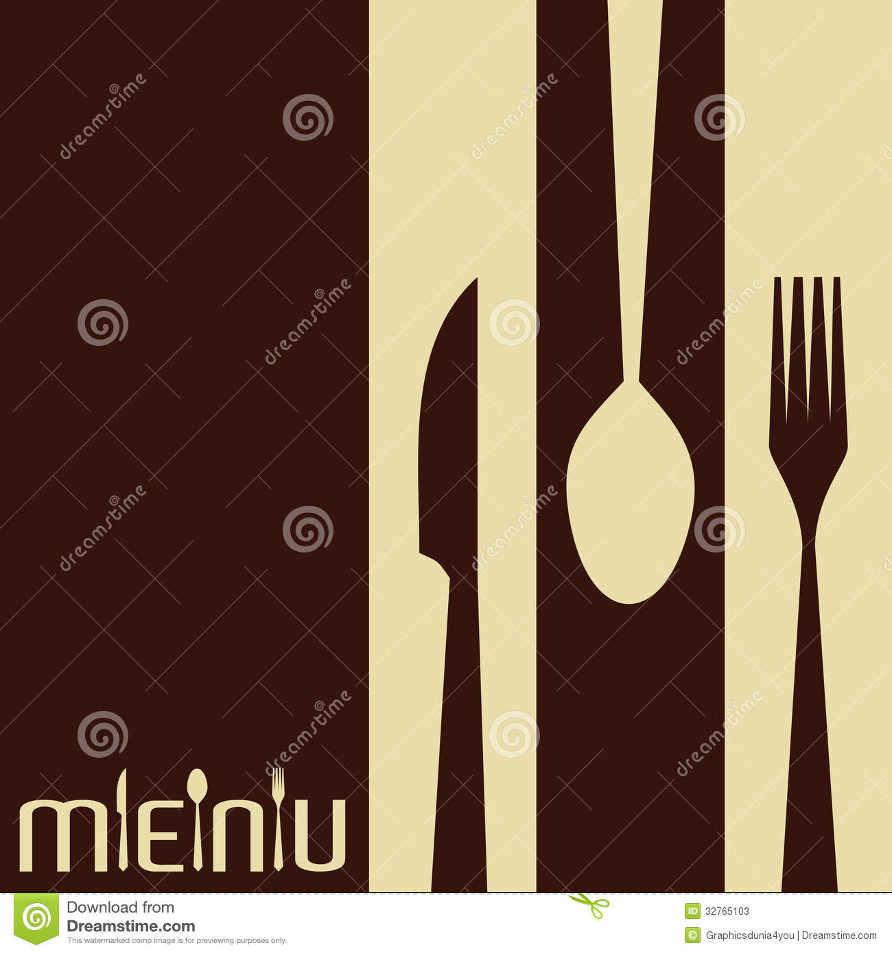 template for menu card with cutlery stock photos